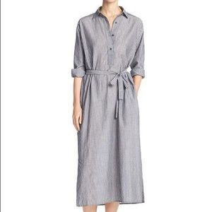 Vince Double-Stripe Cotton Midi Shirtdress L NWT